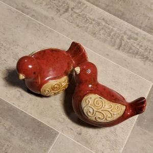 None Accents - Set of 2 Red Bird Ceramic Statues